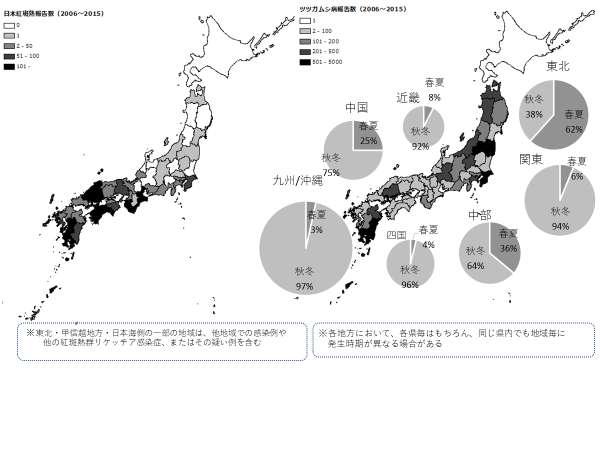 日本紅斑熱とツツガムシ病の県別別発生状況